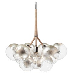 Large Silver Leaf Bubble Chandelier in Polished Nickel/Natural Leather by Pelle
