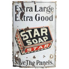 Well-Worn Star Soap Curved Porcelain Sign, circa 1930s