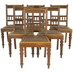Vintage Dining Chairs Carved Oak Chairs, T Wallis & Co, Victorian, B795
