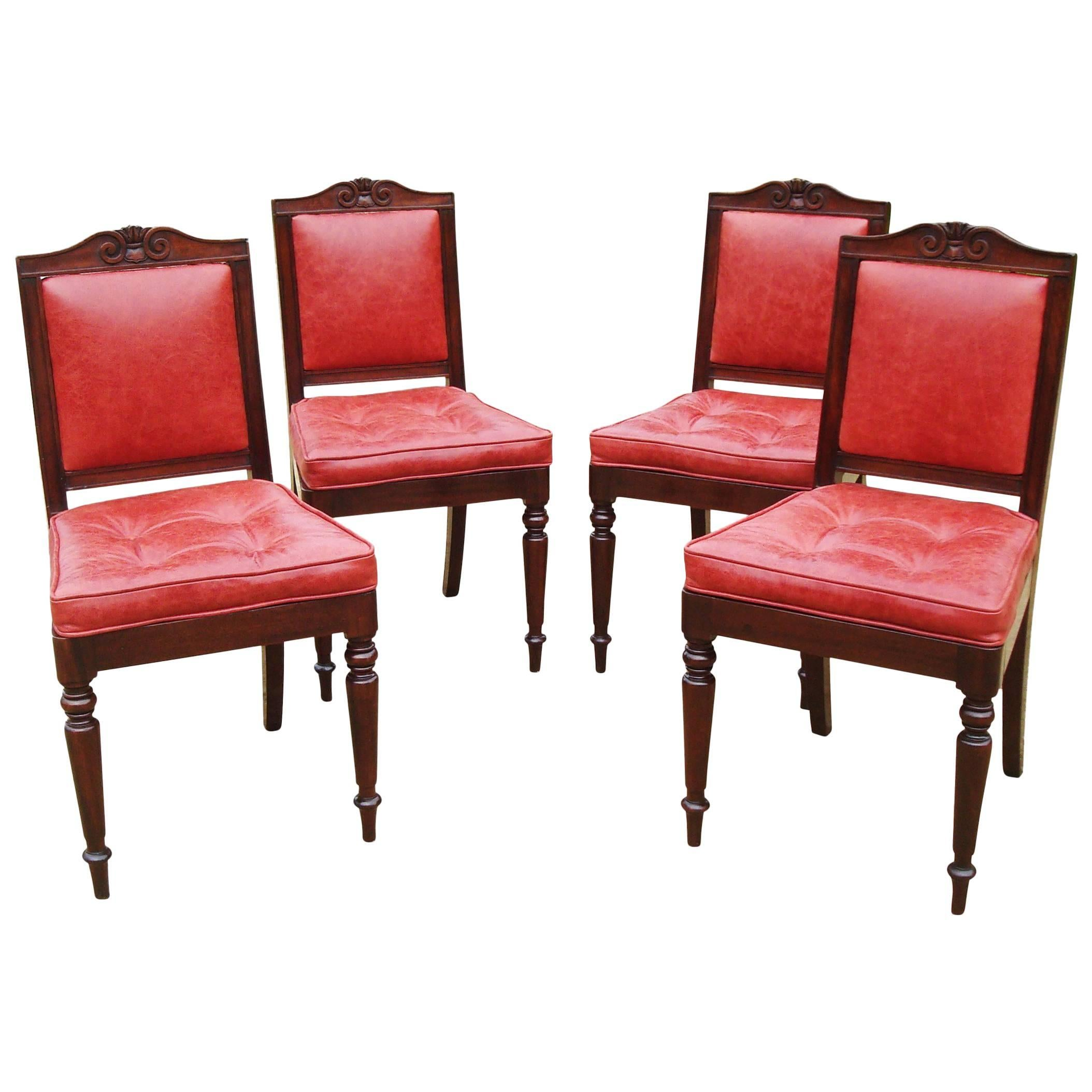 Late Regency Set Of Four Mahogany And Leather Side Chairs By Gillows