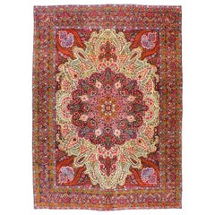 Semi-Antique Persian Yazd Carpet