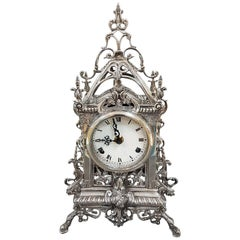 20th Century Solid Silver Table Clock