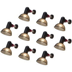 Set of Ten French Roger Tallon for Erco Wall Lights