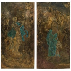Pair of Bronze Grecian Wall Plaques by Philip and Kelvin LaVerne