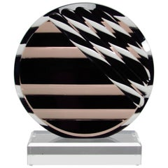 Lucite 1980s Abstract Modern Disc Sculpture
