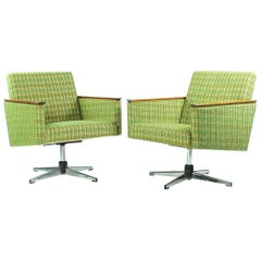 Swivel Club Chairs with Chrome and Wood Details, Czechoslovakia, circa 1960