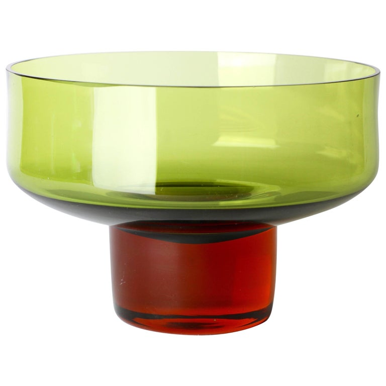 Swedish Mid-Century Green and Amber Toned Glass Bowl by Bo Borgström for Aseda