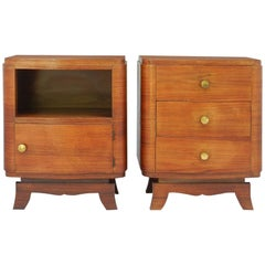 Pair of Art Deco Nightstands French Side Cabinets Bedside Tables, 1930s