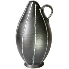 Mid-Century Hand Thrown Black and White 'Pinstripe' Pitcher or Vase, circa 1950s
