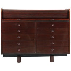 Gianfranco Frattini Desk with Roll Top in Rosewood, circa 1962 for Bernini Italy