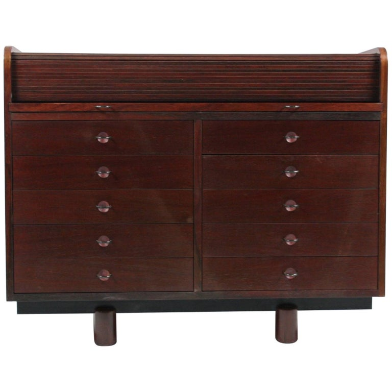 Gianfranco Frattini Desk with Roll Top in Rosewood, circa 1962 for Bernini Italy For Sale