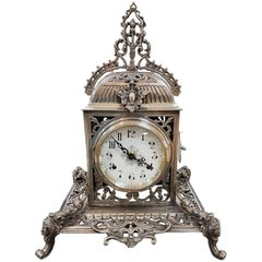 20th Century Italian Silver Gothic revival Table Clock. Casting and chisel