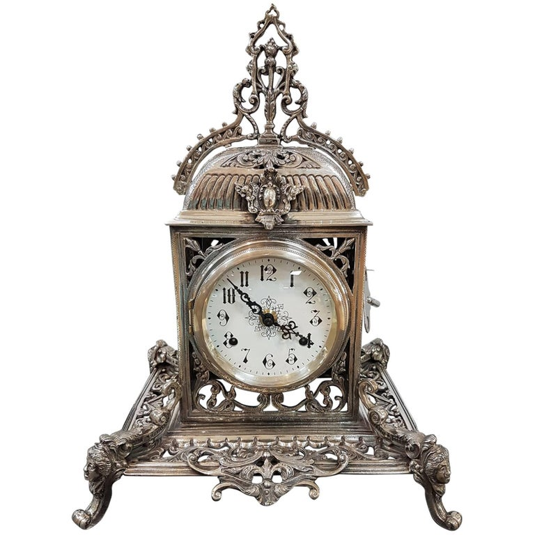 20th Century Italian Silver Gothic revival Table Clock. Casting and chisel For Sale