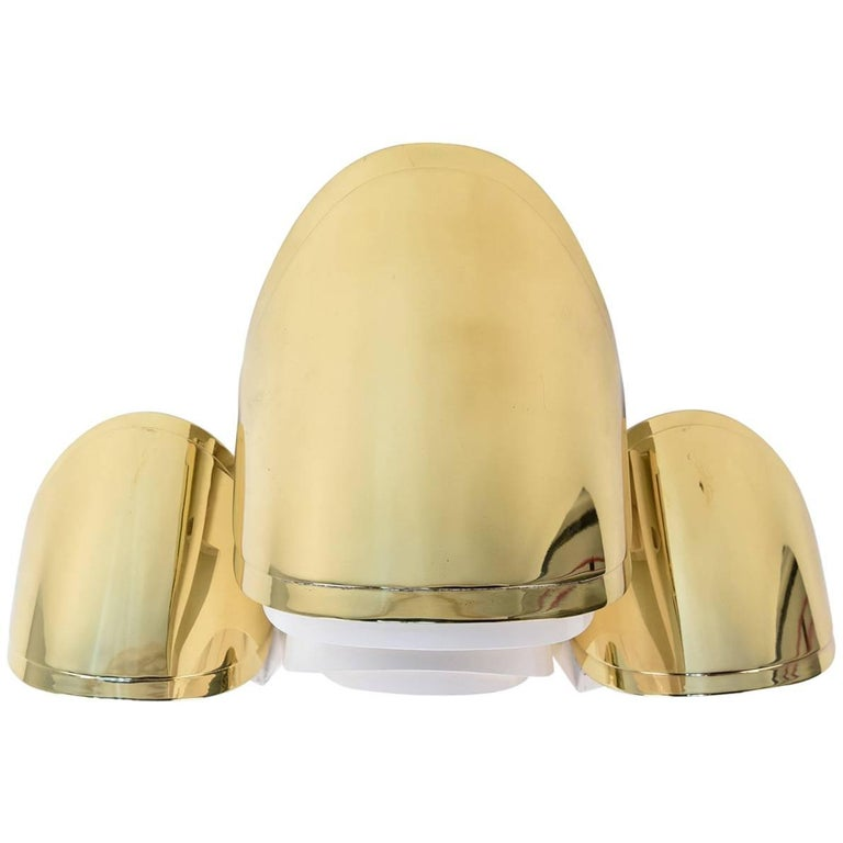 Warren Platner Custom Brass Triple Corner Sconce For Sale