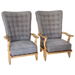 Pair of French Grand Repos Lounge Chairs by Guillerme et Chambron Votre Maison