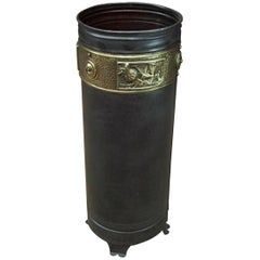 French Art Nouveau Metal and Brass Umbrella Stand, circa 1910