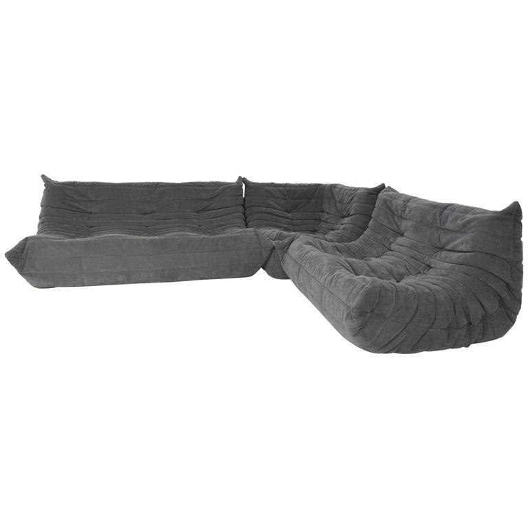Ligne roset togo sofa in grey suede by michel ducaroy for sale at 1stdibs - Michel ducaroy togo sofa ...