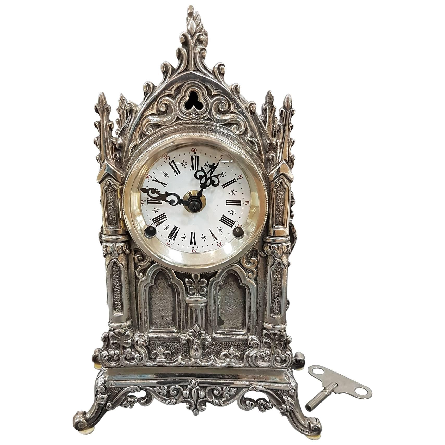 20th Century Italian Gothic revival Silver Table Clock