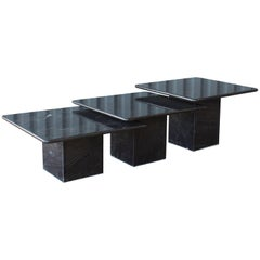 Set of 1970s Black Marble Nesting Tables