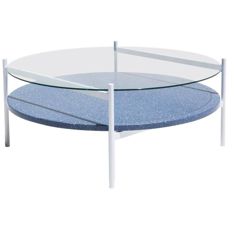 Contemporary Duotone Coffee Table, White Base, Clear Glass and Blue Mosaic