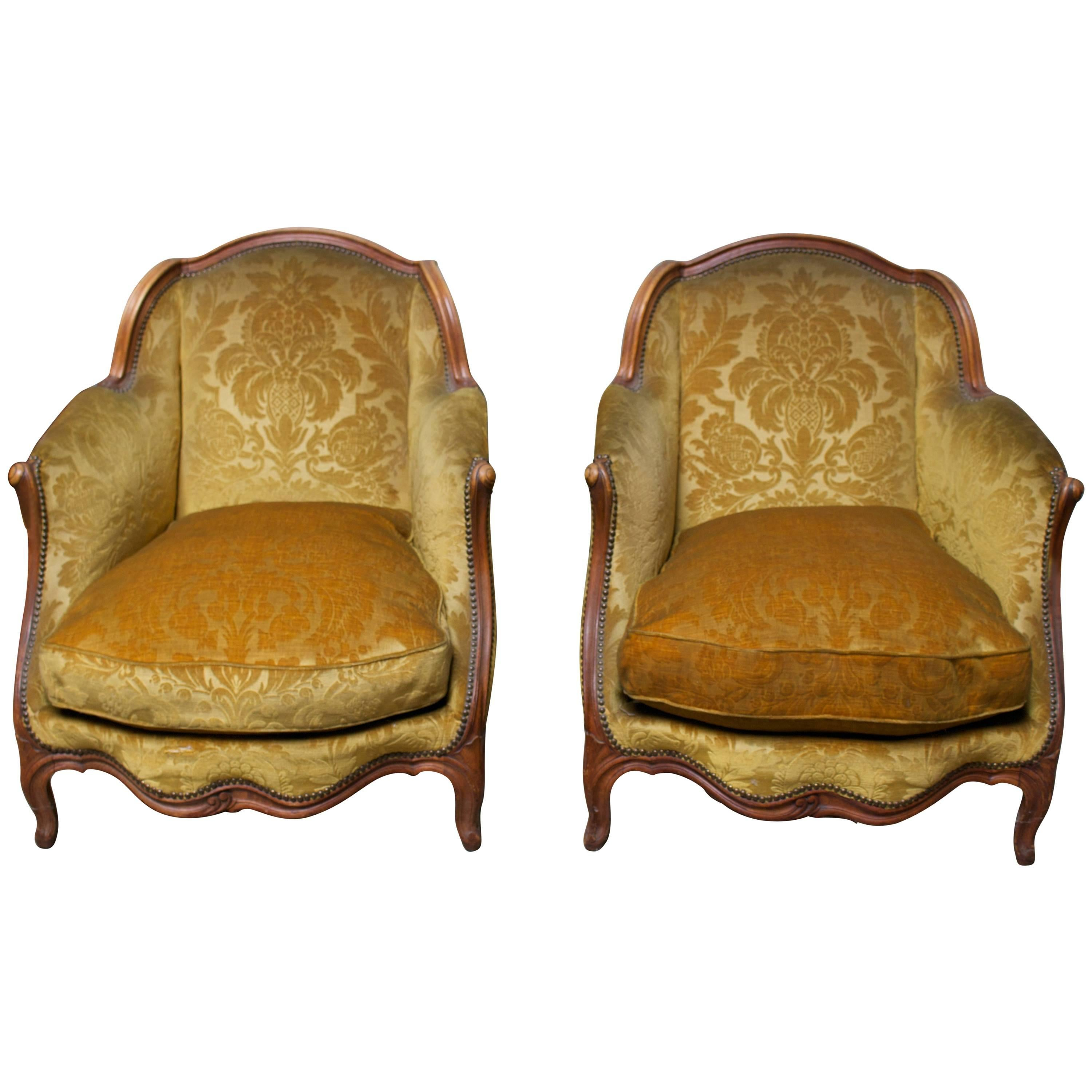 Pair of French Carved Wood Bergeres
