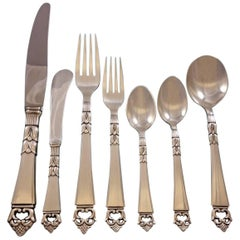 Danish Crown by Frigast Sterling Silver Flatware Set 12 Service 84 Pieces Dinner