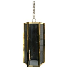 Fredrick Ramond Smoked Glass and Brass Chandelier