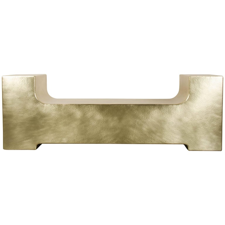 """U"" Shaped Bench Brass by Robert Kuo, Limited Edition For Sale"