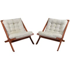 Pair of Danish Mid-Century Canvas Easy Chairs