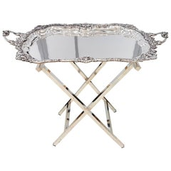 20th Century Italian Sterling Silver Tray Baroque revival. Square smooth stand