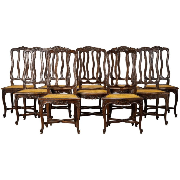 Set of Ten Louis XV Style Dining Chairs