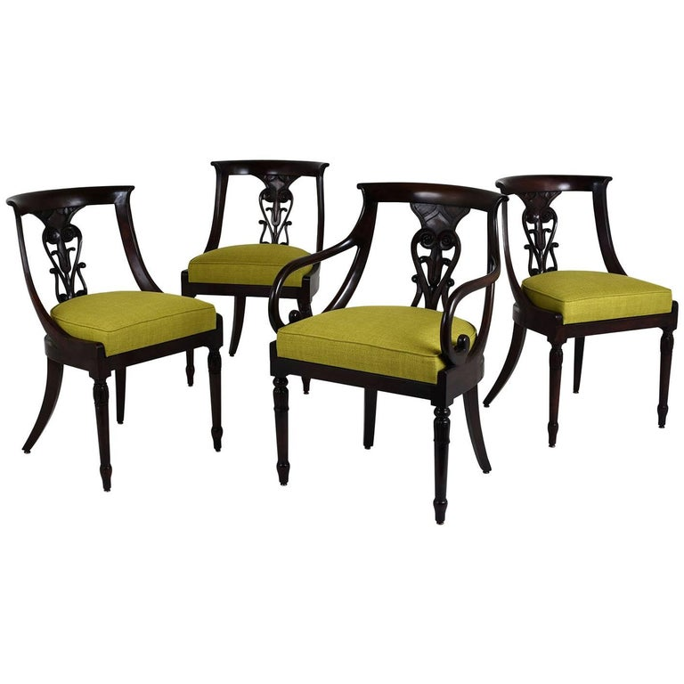 Set of Four Hollywood Regency-Style Dining Chairs
