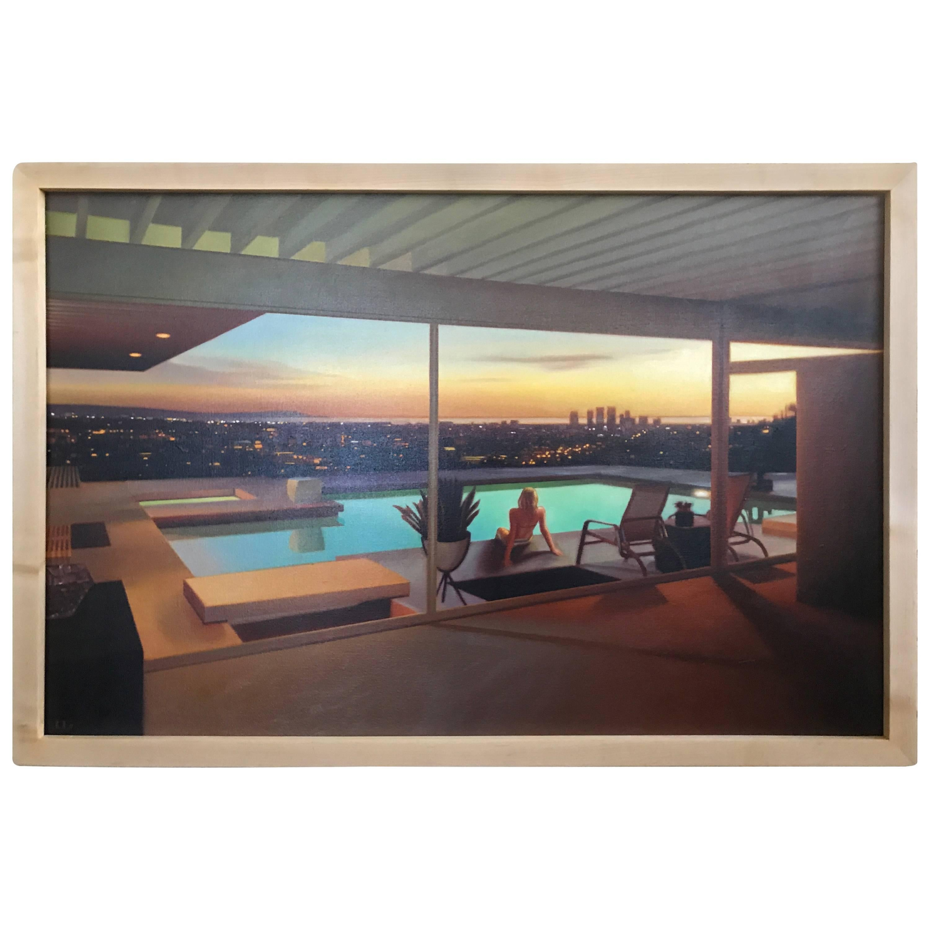 Modern Architecture Painting Stahl House Los Angeles By Carrie Graber  Signed For Sale