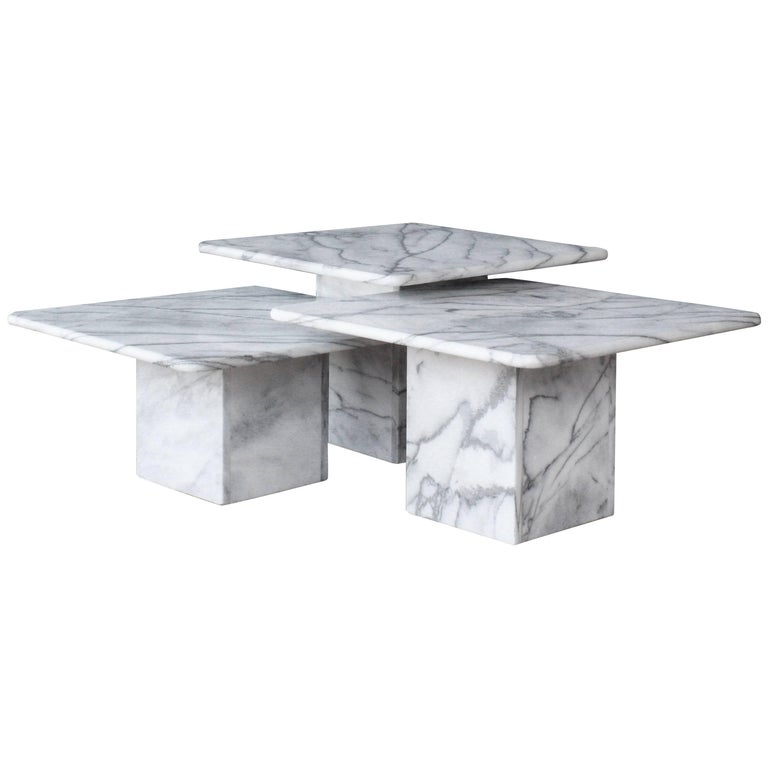 Marble Ayva Nesting Coffee Tables Set Of 2: Set Of 1970s White Marble Nesting Tables At 1stdibs
