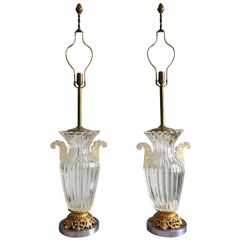 Pair of Large Archimede Seguso Table Lamps 1