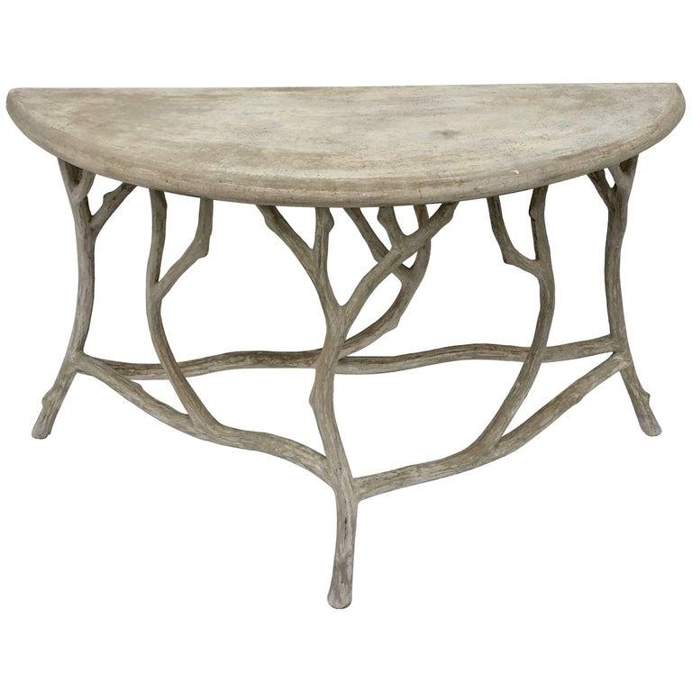 Faux bois concrete twig demilune console table at 1stdibs - Table console bois ...