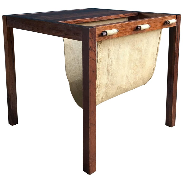 Vintage Rosewood Side Table with Magazine Rack, Denmark, 1960s