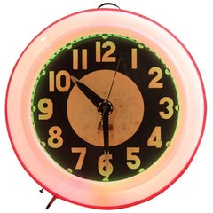 1930s Neon Clock by Cleveland Clock Company