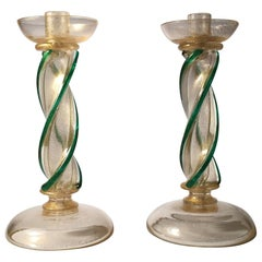 Pair of Seguso Murano Glass Candlestick Wireable Boudoir Lamps