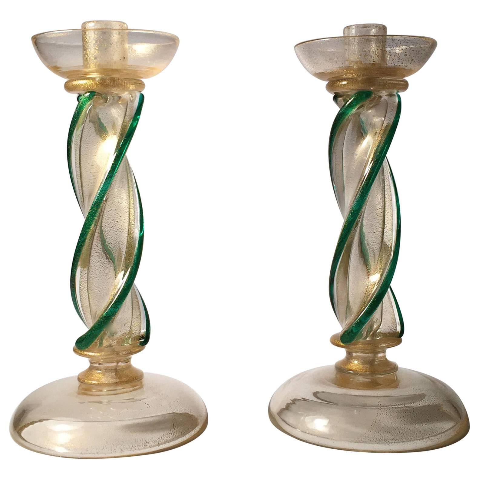 Pair Of Seguso Murano Glass Candlestick Wireable Boudoir Lamps For Sale