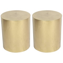 Pair of Signed C. Jere Brass Drum End Tables