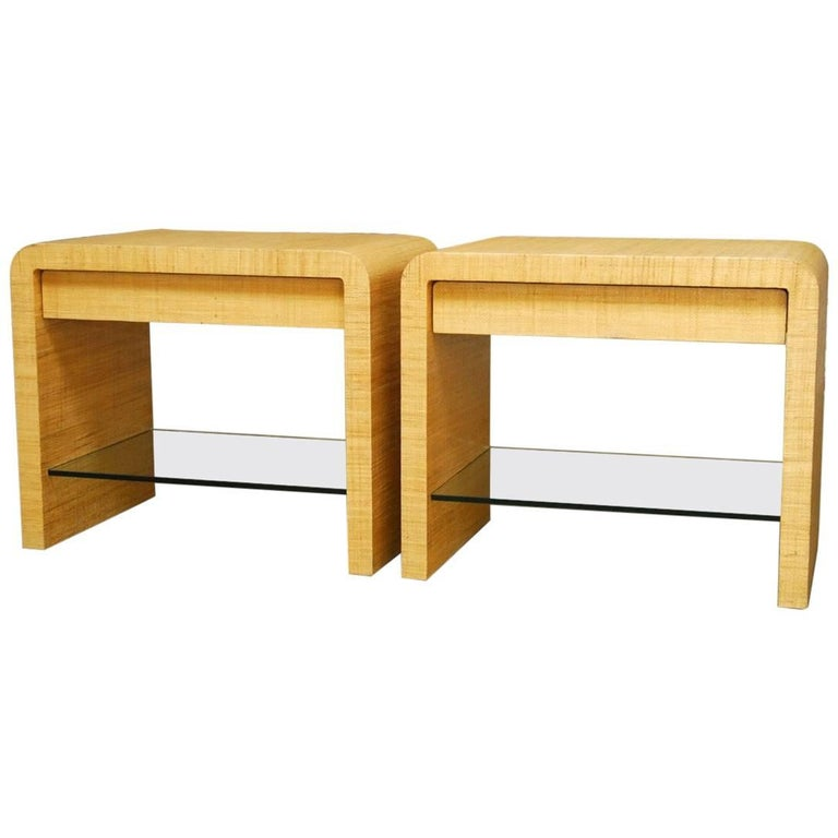 Pair of grasscloth waterfall nightstands attributed to for Waterfall design nightstand