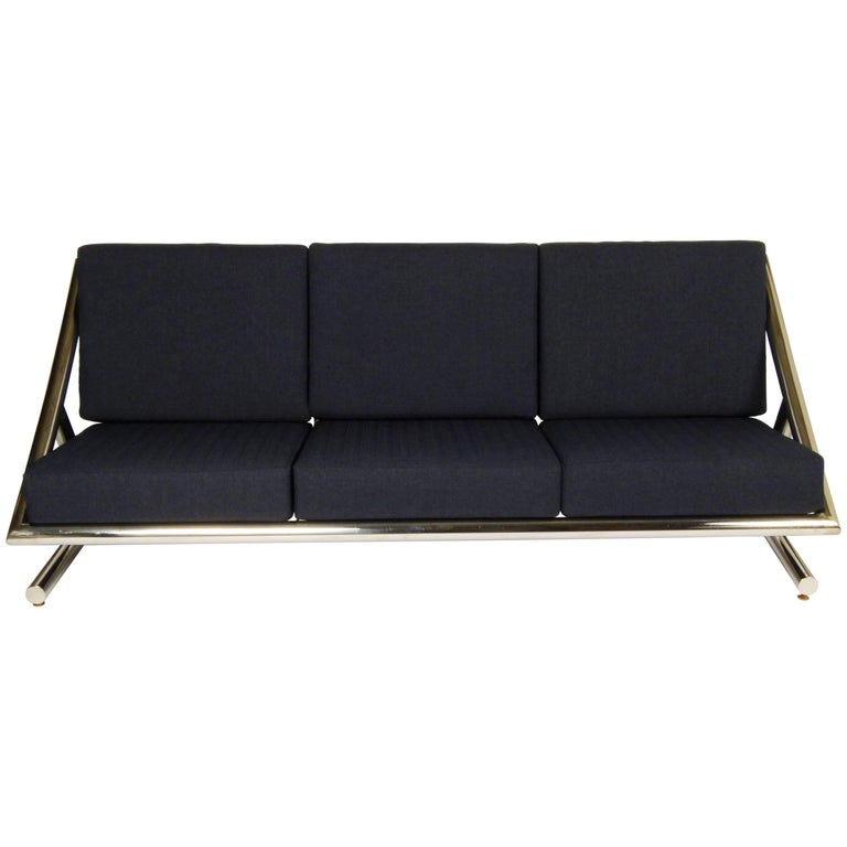 Polished steel frame sofa by plato ginnello for sale at 1stdibs Steel frame sofa