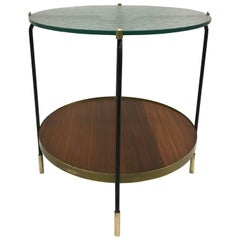 Italian Mid-Century Double Tier Bar or Side Table in Style of Fontana Arte