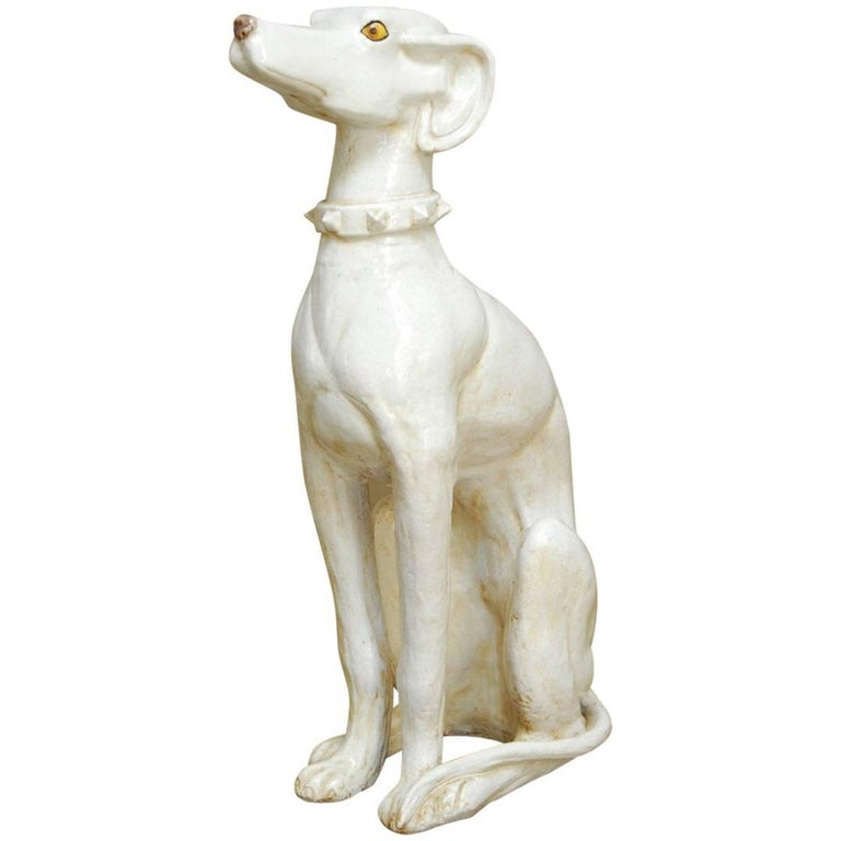 Mid-Century Modern Italian Ceramic Greyhound Dog Sculpture For Sale