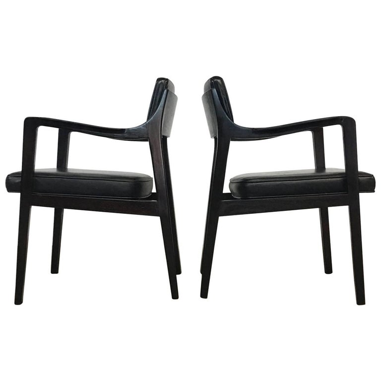 Pair of Dunbar Chairs in Black Leather