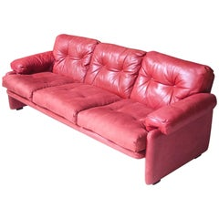 "Vintage ""Coronado"" Sofa in Red Leather and Velvet by Tobia Scarpa, 1966"