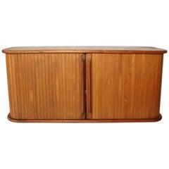 Handmade Vintage Danish Style Tambour Door Cabinets