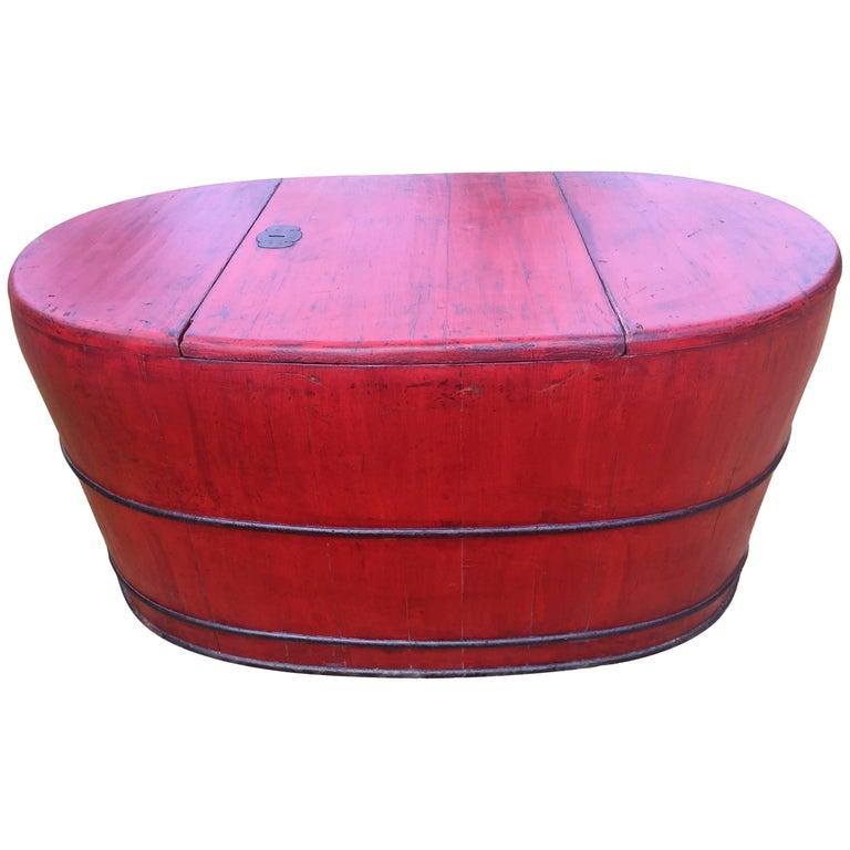 Giant Red Bucket, Wooden Basket