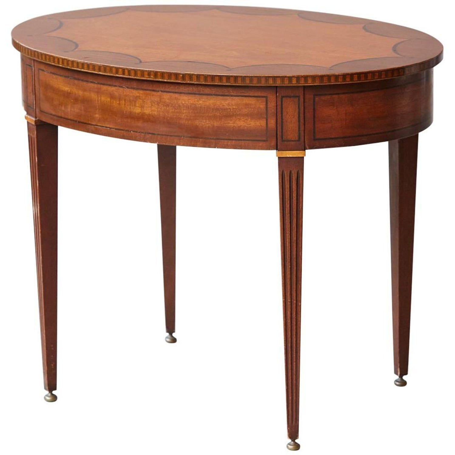 Kittinger Oval Side Table with Hidden Drawer and Marquetry For